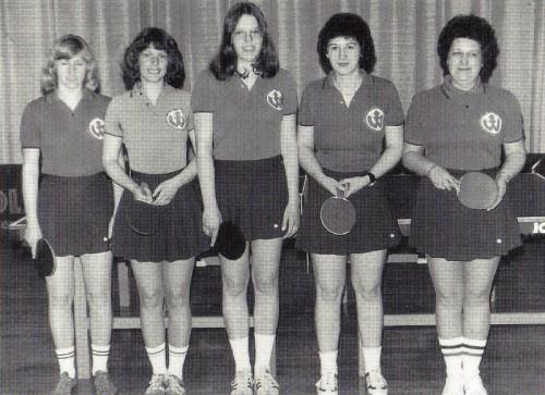 Die Meister der Bezirksklasse-Damen 1978 v.l.n.r: Jutta Hahn, Waltraud Wagner, Gabi Raff, Karin Bazle und Irene Bolldorf