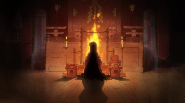 Rei Meditating at the Great Fire