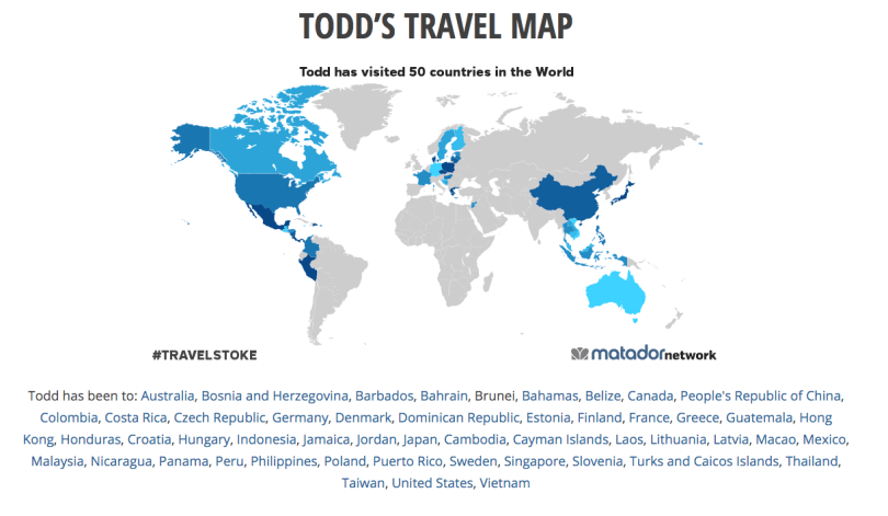 Todd\'s Travel Map - where I\'ve been | Visit50.com: Travel ...