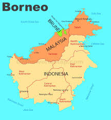 Map of Borneo island