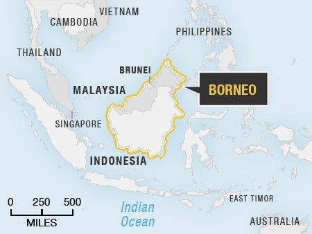 Map with Borneo