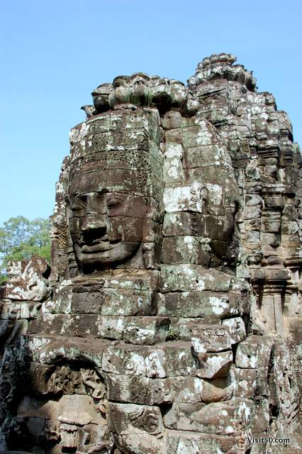 Smiling face of Avalokiteshvara at the Bayon temples at Angkor Thom, Cambodia