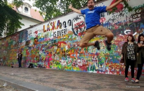Jumping at the Lennon Wall in Prague
