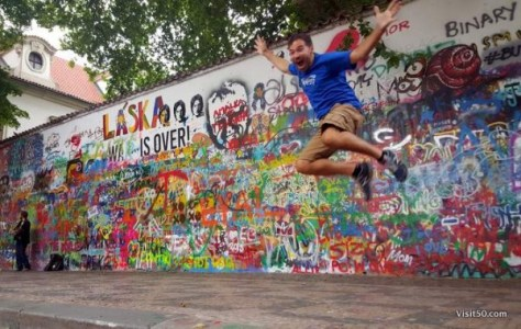 Jumping for Peace Lennon Wall in Prague