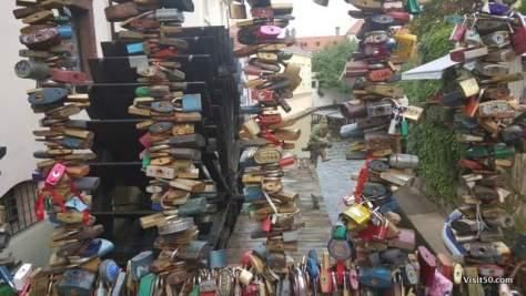 Locks of love near the Lennon Wall in Prague