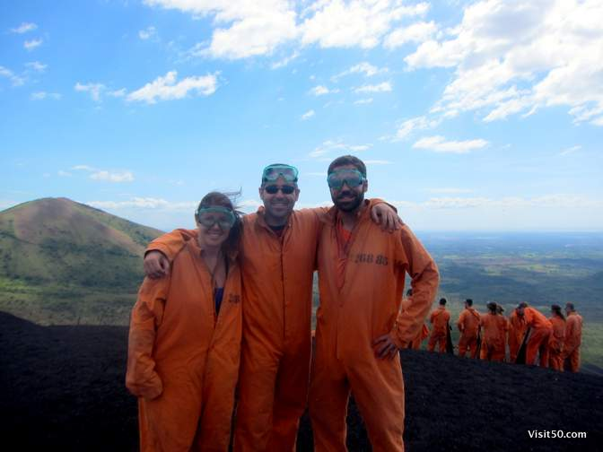 Prison Break? Orange Is The New Black? Nope - we're on the top of a volcano, about to sled down as fast as we can. Volcano Boarding!
