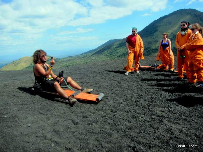 Our fearless guide shows us the ropes - he was a traveler until he went volcano boarding 6 months ago and was instantly hooked. Now he volunteers as a guide in exchange for free volcano boarding
