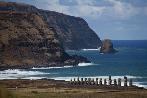 Easter Island at beach. credit