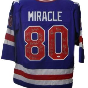 1980 USA Hockey Signed Miracle On Ice XL Blue Jersey 20 Sigs 19026 - JSA Certified