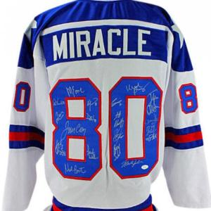 1980 USA Hockey Team (19) Signed White Jersey (Craig, Eruzione) Witness - JSA Certified