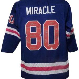 """1980 Usa """"miracle On Ice"""" Olympic Hockey Signed Xl Blue Jersey (19) 13666 - JSA Certified"""