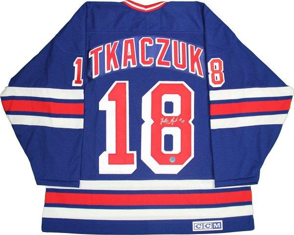 Walt Tkaczuk Signed New York Rangers Blue CCM Vintage Jersey (AJ Sports Auth)