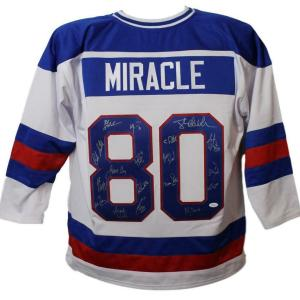 1980 USA Miracle On Ice Olympic Hockey Signed White XL Jersey 18 Sigs 10636 - JSA Certified