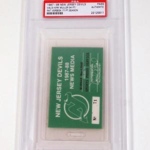 1987-88 New Jersey Devils Media Pass PSA Slabbed