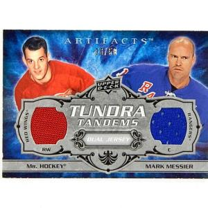 2008-09 Artifacts Tundra Tandems Silver Gordie Howe Mark Messier Dual Jersey /50