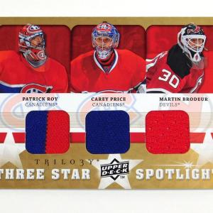 2008-09 UD Trilogy Patrick Roy Martin Brodeur Price Three Star Spotlight Jerseys