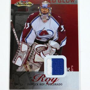 2013-14 Fleer Showcase Patrick Roy Stitches Jersey Red Glow /36