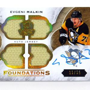 2015-16 UD The Cup Evgeni Malkin Foundations On Card Auto Quad Jersey /15