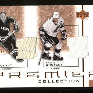 2002-03 Upper Deck Premier Gordie Howe / Wayne Gretzky Dual Jersey D-hg