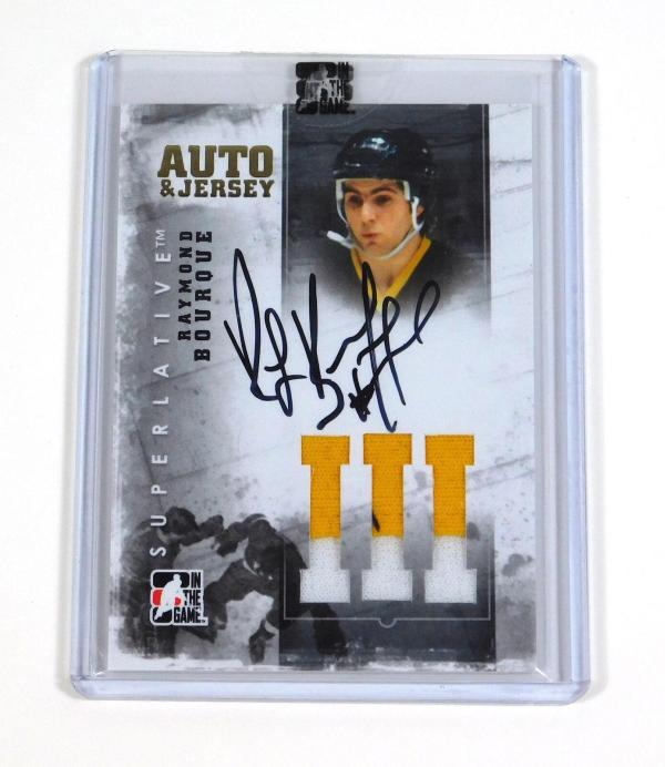 2007-08 ITG In The Game Superlative Raymond Bourque Gold Jersey On Card Auto /10