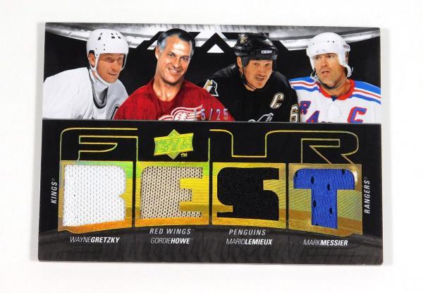 2009-10 UD Black Foursomes Gretzky / Howe / Lemieux / Messier Quad Jersey /25