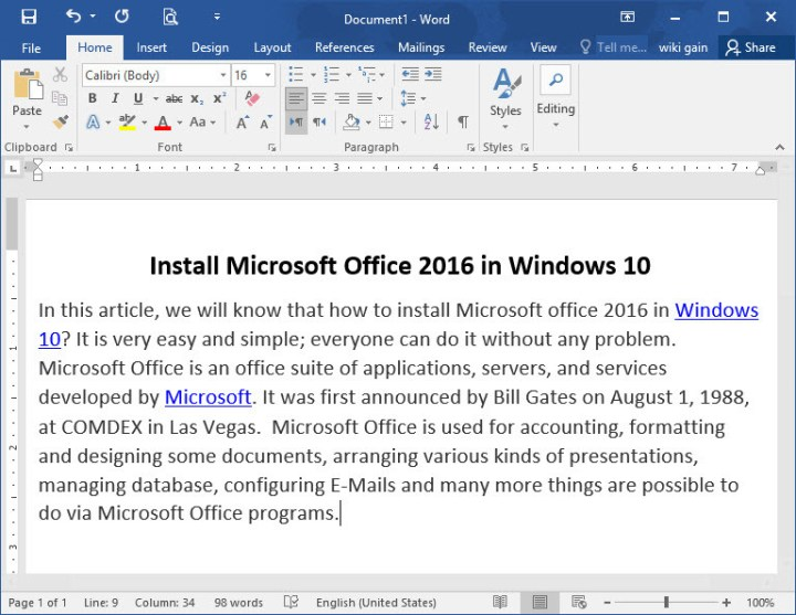 Office 2016 is Installed