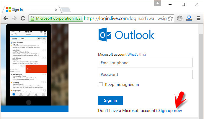 Sign up for outlook