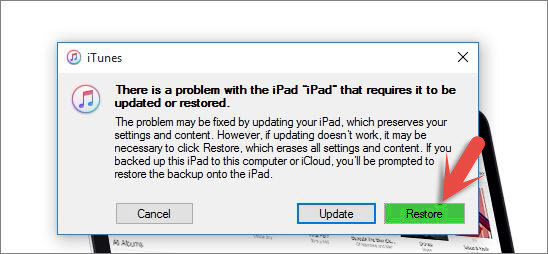 how to connect to itunes when ipad is disabled