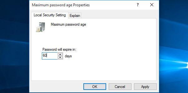 Maximum Password Age