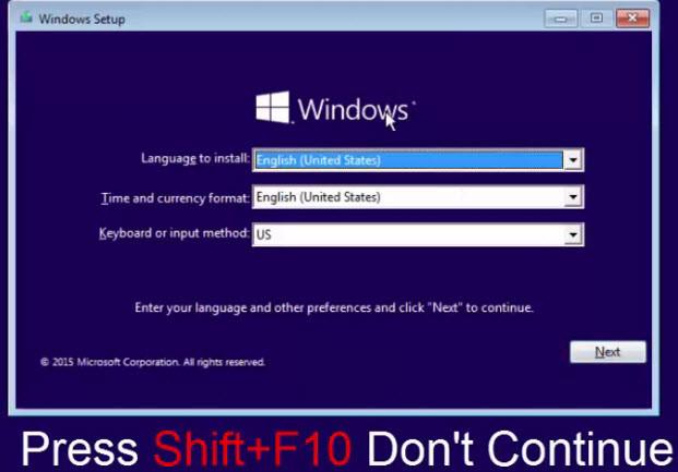 Press Shift F10