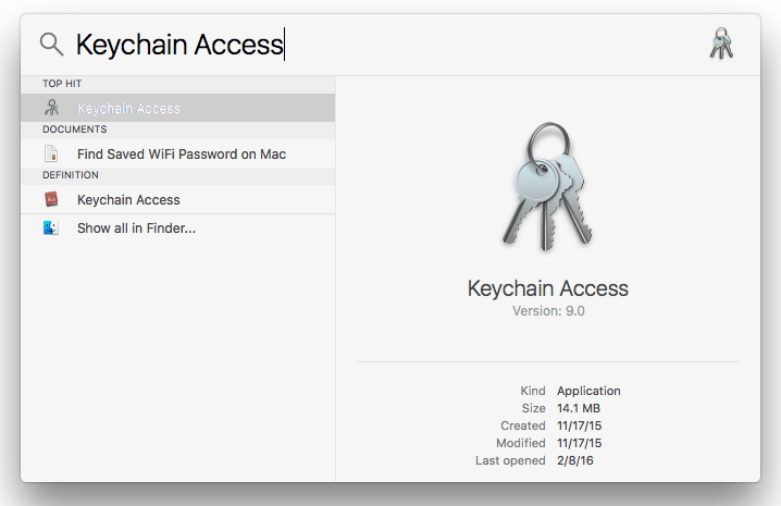 Search KeyChain Access