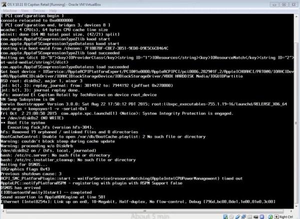 Installing OS X El Capitan on VirtualBox