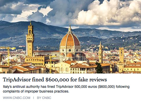 Trip Advisor fined $600,000 for fake reviews