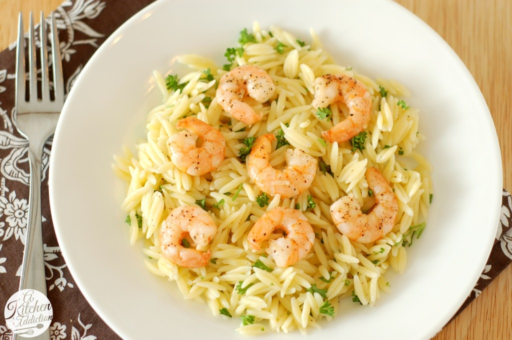 Lemon Pepper Shrimp Orzo Recipe l www.a-kitchen-addiction.com