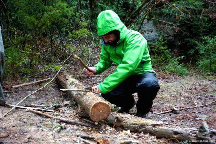 Larzac, stage de survie, couper du bois
