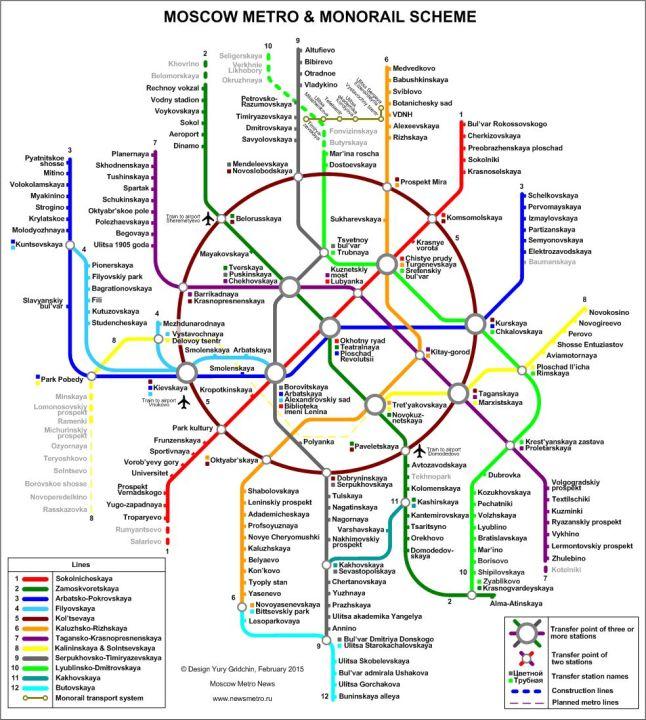 Moscou, plan du métro en anglais