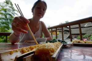 Chine, rizières de Longji, bambou rice