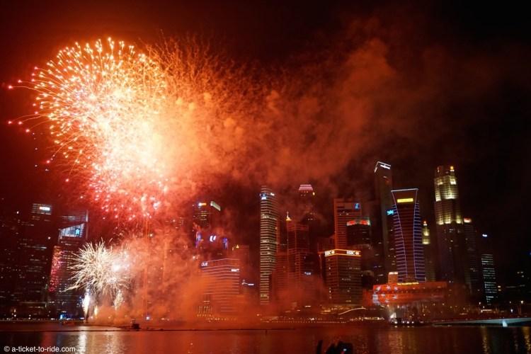 Singapour, Marina bay, feu d'artifice