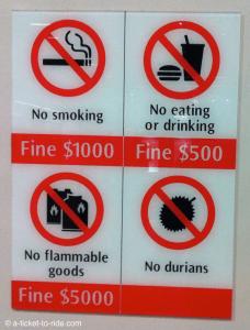 Singapour, amendes dans le métro