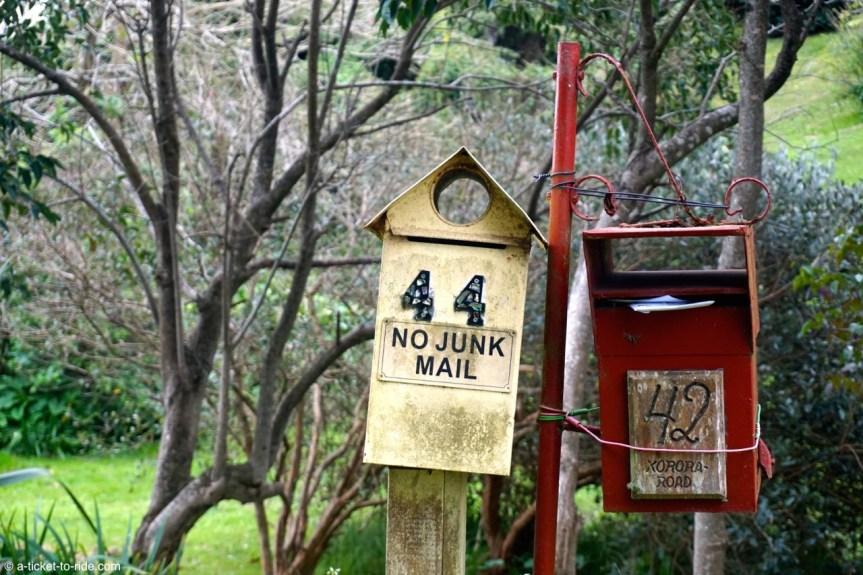 Nouvelle-Zélande, Waiheke island, boîtes aux lettres