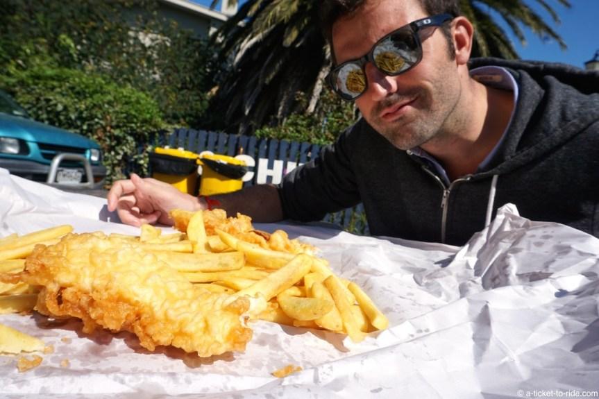 Nouvelle-Zélande, Akaroa, fish and chips
