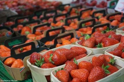 France, Nîmes, étal de fraises dans les halles