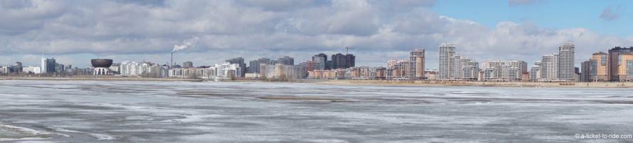 Russie, Kazan, fleuve Volga glacée