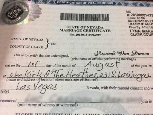 Marriage certificate, Las Vegas