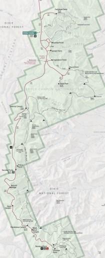 USA, Bryce Canyon, map scenic drive