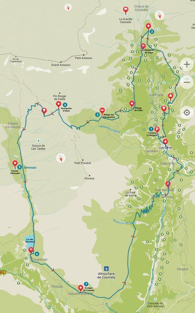 Carte randonnée 2 jours Gavarnie-Estaubé