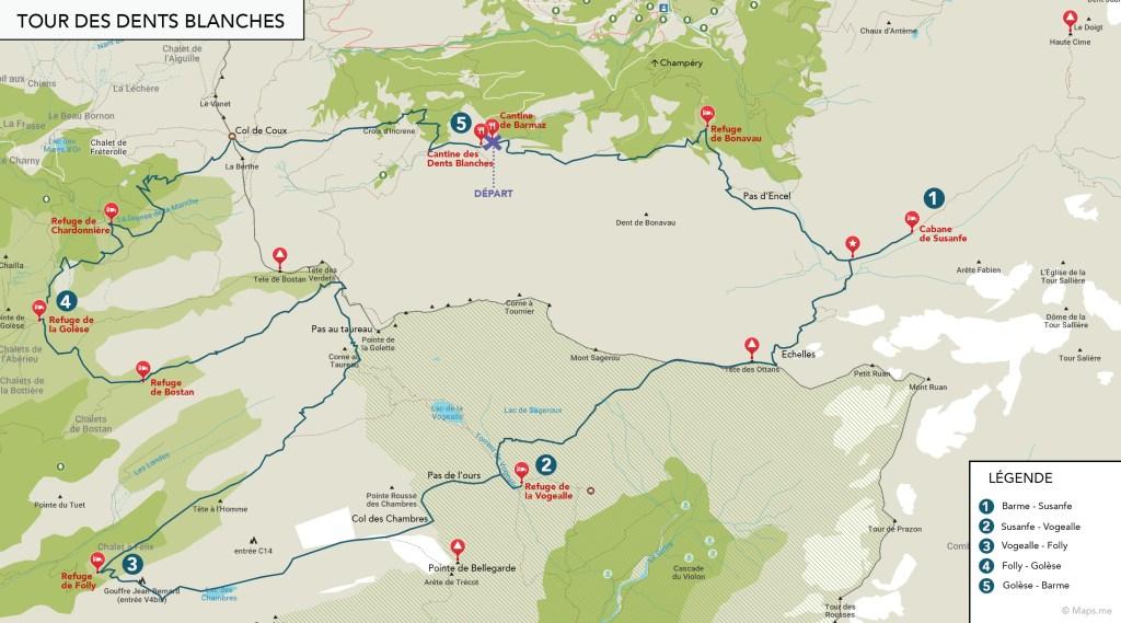 Carte itinéraire du Tour des Dents Blanches