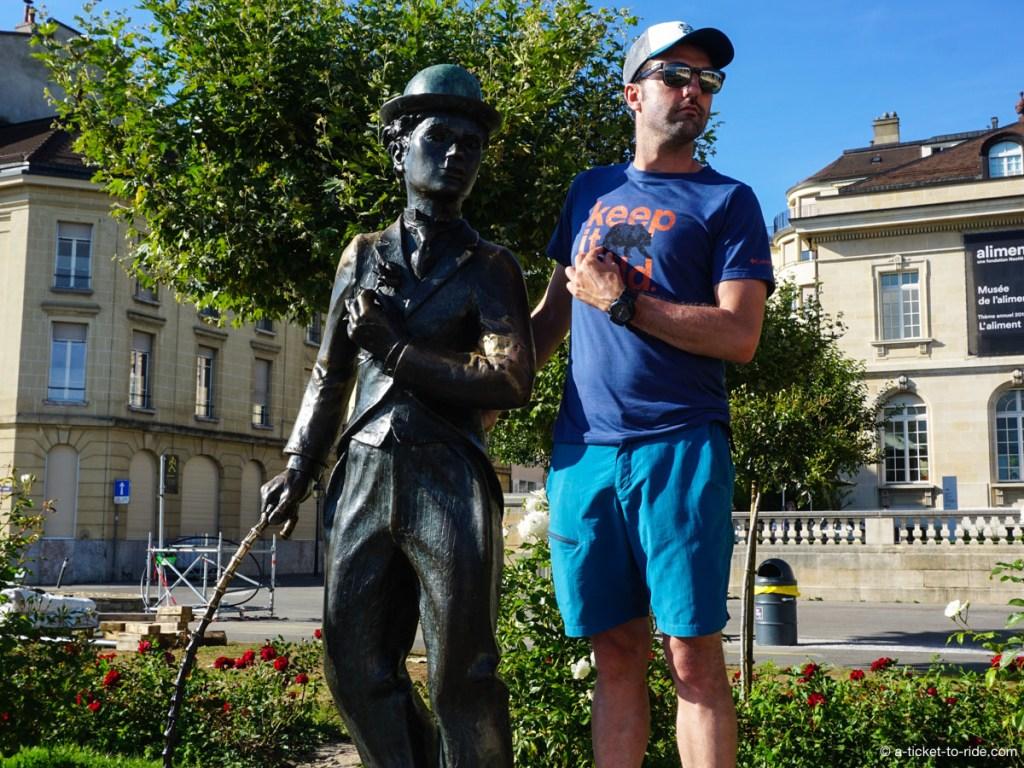 Vevey, statue de Charlie Chaplin