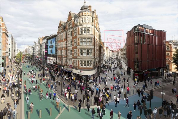 Screenshot from the previs of the Oxford street