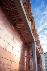 Copper has been used for the doors, ventilation apertures, cladding, guard rails, and even downpipes.